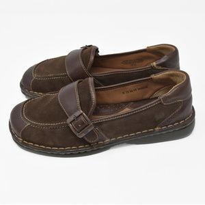 *Born Sz 8M EU 39 Brown Leather & Suede Slip Flat